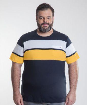 Camiseta Masculino Plus Size Gola Careca Listrada