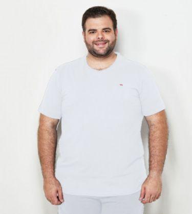 Camiseta Masculino Plus Size Gola Careca Ton Sur ton Branca