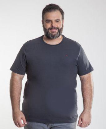Camiseta Masculino Plus Size Gola Careca Ton Sur ton Chumbo