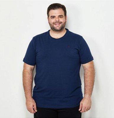 Camiseta Masculino Plus Size Gola Careca Ton Sur ton Marinho