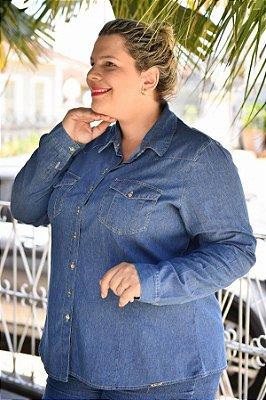 Camisete Feminina Plus Size Jeans Manga Longa