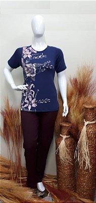 Blusa Feminina Plus Size com Estampa Flores