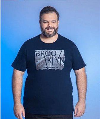 Camiseta Masculino Plus Size Gola Careca com Estampa