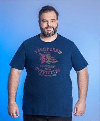 Camiseta Masculino Plus Size Gola Careca Estonada