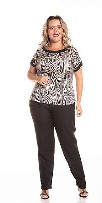 Blusa Feminina Plus Size com Estampa Animal Print