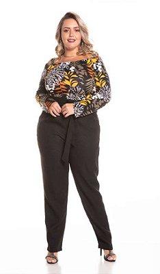Blusa Feminina Plus Size com Ombro a Ombro Estampada