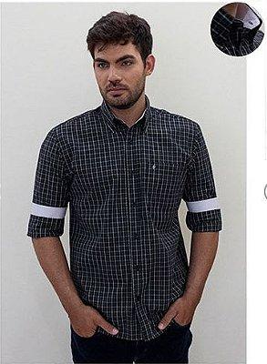 Camisa Masculino Plus Size Manga Longa Xadrez HP