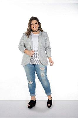 Blazer Feminino Plus Size Moletom Peluciado
