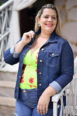 Jaqueta Feminina Plus Size Cropped Jeans