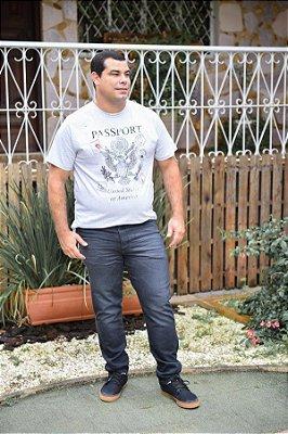 Calça Masculina Plus Size Slim Fit Jeans Black