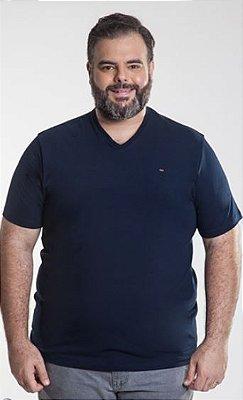 Camiseta Masculina Plus Size Gola V com Lycra