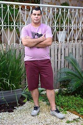 Bermuda Masculina Plus Size Sarja Bolso Faca Vinho
