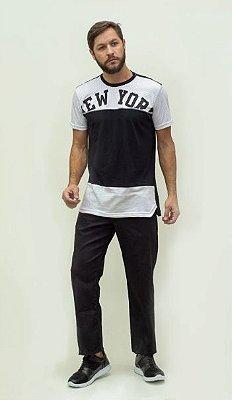 Calça Masculina Plus Size Jeans Preto com Elastano