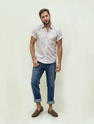 Calça Masculina Plus Size Regular com Elastano Jeans Claro