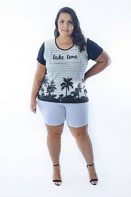 Blusa Feminina Plus Size Estampa Coqueiro