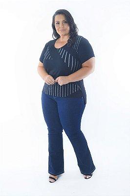 Blusa Feminina Plus Size Listras Mullet