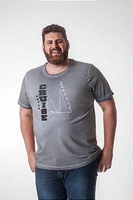 Camiseta Masculina Plus Size Gola Careca Estonada