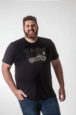 Camiseta Masculina Plus Size Gola Careca Estonada com Estampada