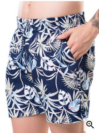 Shorts Masculino Plus Size Tactel Estampa Folhas