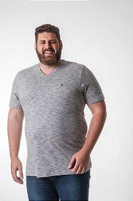 Camiseta Masculina Plus Size Gola V