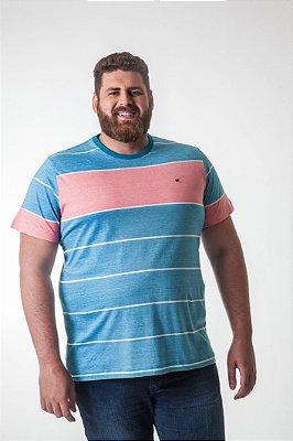 Camiseta Masculina Plus Size Gola Careca Listrada