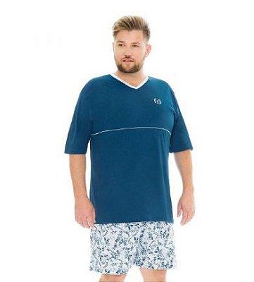 Pijama Masculino Plus Size Gola V Manga Curta Fechado