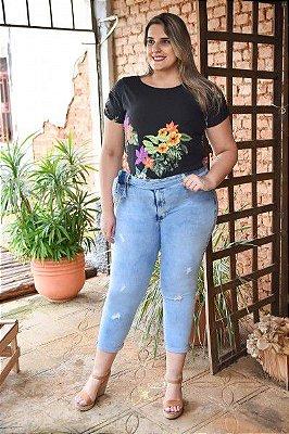 Calça Feminina Plus Size Boyfriend Cropped Jeans