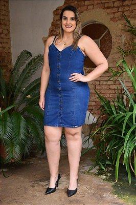 Vestido Plus Size Jeans com Elastano