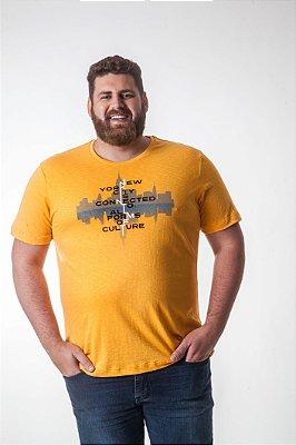 Camiseta Masculina Plus Size Gola Careca com Estampa