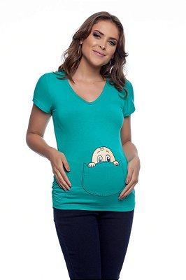 Blusa Gestante Temática Bebê Bolso
