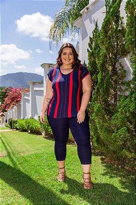 Blusa Feminina Plus Size Listras