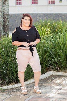 Bermuda Feminina Plus Size Ciclista com Cinto Sarja