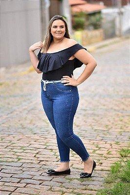 Calça Feminina Plus Size Jeans Skinny Cropped