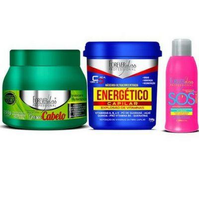 Forever liss Kit Tudo de Bom Cresce Cabelo 250G + Energético 250G + SOS
