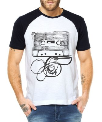 Camiseta Masculina Fita Cassete K7 Raglan