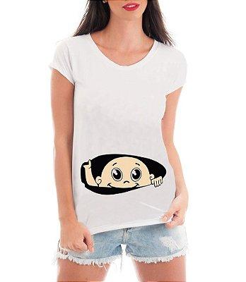 Camiseta Feminina Gestante Mãe Bebê Espiando Engraçada Humor-  Personalizada/ Estampadas/ Camiseteria/ Estamparia/ Estampar/ Personalizar/ Customizar/ Criar/ Camisa Blusas Baratas Modelos Legais Loja Online