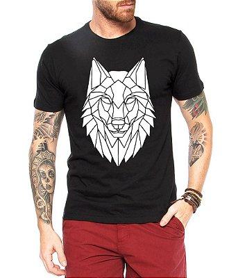Camiseta Masculina Lobo Tribal Linhas Tattoo Legais Criativas- Personalizadas/ Customizadas/ Estampadas/ Camiseteria/ Estamparia/ Estampar/ Personalizar/ Customizar/ Criar/ Camisa Blusas Baratas Modelos Legais Loja Online