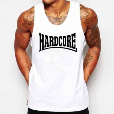Camiseta Masculina Regata Hardcore Malhação Body Build bodybuilder - Personalizadas/ Customizadas/ Estampadas/ Camiseteria/ Estamparia/ Estampar/ Personalizar/ Customizar/ Criar/ Camisa Blusas Baratas