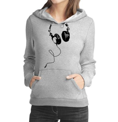 Moletom Feminino Fones De Ouvido Dj Música Nerd Gamer - Moletons Personalizados Blusa/ Casacos Baratos/ Blusão/ Jaqueta Canguru
