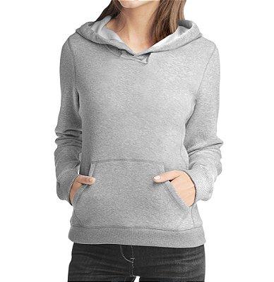 Moletom Feminino Preto Cinza Liso Canguru Capuz Bolsos - Moletons Personalizados Blusa/ Casacos Baratos/ Blusão/ Jaqueta Canguru