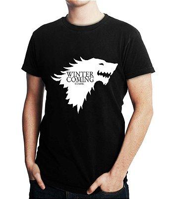 Camiseta Masculina Game Of Thrones Winter Is Coming Stark - Personalizadas/ Customizadas/ Estampadas/ Camiseteria/ Estamparia/ Estampar/ Personalizar/ Customizar/ Criar/ Camisa Blusas Baratas Modelos Legais Loja Online