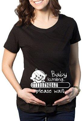 Camiseta Feminina Gestante Grávida Baby Loading- Personalizadas/ Customizadas/ Estampadas/ Camiseteria/ Estamparia/ Estampar/ Personalizar/ Customizar/ Criar/ Camisa Blusas Baratas Modelos Legais Loja Online/ Bebê