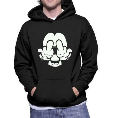 Moletom Masculino Mickey Mouse Fockyou - Moletons Personalizados Blusa/ Casacos Baratos/ Blusão/ Jaqueta Canguru