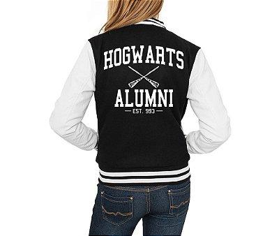 Jaqueta College Feminina Harry Potter Casaco Moletom  - Jaquetas Colegial Americana Universitária Baseball de Frio Preto e Branco Personalizadas Blusas/ Casacos/ Blusão Baratos