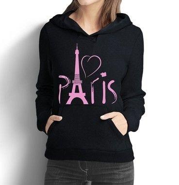 Moletom Feminino Paris França Torre Eiffel - Moletons Personalizados Blusa/ Casacos Baratos/ Blusão/ Jaqueta Canguru