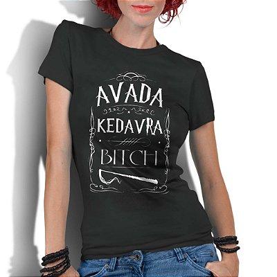 Camiseta Feminina Frases Harry Potter Avada Kedavra - Personalizadas/ Customizadas/ Estampadas/ Camiseteria/ Estamparia/ Estampar/ Personalizar/ Customizar/ Criar/ Camisa Blusas Baratas Modelos Legais Loja Online