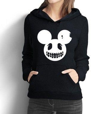 Moletom Feminino Mickey Mouse Disney Caveira Blusa de Frio - Moletons Personalizados Blusa/ Casacos Baratos/ Blusão/ Jaqueta Canguru