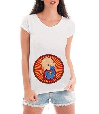 Camiseta Gestante Grávidas Super Bebê - Frases Engraçadas Grávidas Personalizadas/ Customizadas/ Estampadas/ Camiseteria/ Estamparia/ Estampar/ Personalizar/ Customizar/ Criar/ Camisa Blusas