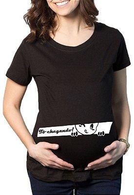 Camiseta Feminina Grávida Gestantes Frases Engraçadas  Bebê Espiando - Frases Engraçadas Grávidas Personalizadas/ Customizadas/ Estampadas/ Camiseteria/ Estamparia/ Estampar/ Personalizar/ Customizar/ Criar/ Camisa T-shirts Blusas