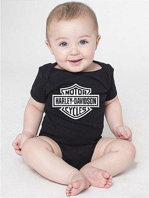 Body Bebê Motor Harley Davidson - Roupinhas Macacão Infantil Bodies Roupa Manga Curta Menino Menina Personalizados